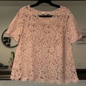 LOFT Blush Pink Lace Top